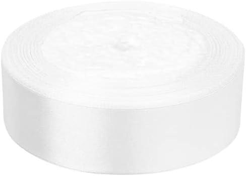 "Satin Ribbon Roll Silk Embellish for Crafts Gift Wrapping White Color- Ribbon #ESB01YN (1/2"" / 100 yd)"