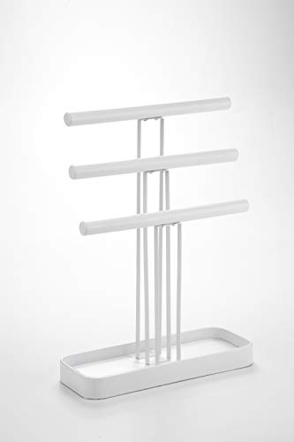 JackCubeDesign Wood 3 Tier Jewelry Display Stand Tree Organizer Bracelet Necklace Holder Rack Hanger Tower with Leather Earring Ring Tray Storage Tabletop(White, 12 x 4.5 x 16.3 inches) – :MK413B