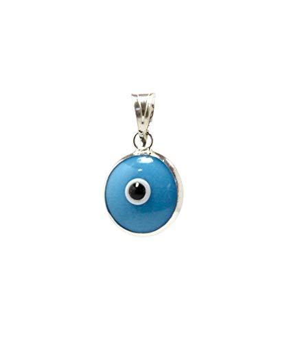 (MIZZE Made for Luck Turquoise Authentic 925 Sterling Silver 10 MM Round Glass Evil Eye Charm Pendant)