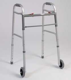 Walking Aid with Wheels - This medical geriatric walker with wheels has a dual button to fold. Weight capacity 300 pounds. This functional lightweight aluminum walker is adjustable in 1'' increments. .