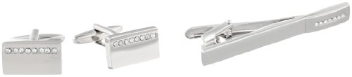 Stacy Adams Men's Polished Cuff Link and Tie Bar With Crystal Stipe Set, Silver, One ()