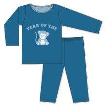 KicKee Pants Long Sleeve Pajama Set Little Boys, Twilight Year of the Monkey, Boys 9 ()
