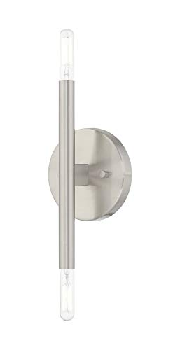 Livex Lighting 51172-91 Copenhagen - Two Light ADA Wall Sconce, Brushed Nickel Finish ()