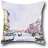 [18 X 18 Inch / 45 By 45 Cm Oil Painting Edward Darley Boit - Venice- Afternoon On The Grand Canal Pillowcase,both Sides Is Fit For Couples,teens Boys,home] (Simple Nursery Rhyme Costumes)