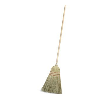 Carlisle Housekeeping Corn Broom, 55'' tall, 10'' wide head, 3-sew synthetic stitching, 19# fill, blended corn bristles, heavy-duty lacquered wood handle, natural color, 4134967