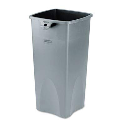 Rubbermaid Commercial Products Untouchable Square Trash Can, Gray, 23 Gallons-RCP356988GY ()