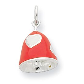 Sterling Silver Moveable Cubic Zirconia Simulated Coral Enameled Polished Bell Charm