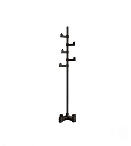 (LivingStar Premium Coat Rack & Stand Hanger: modern design, easy to assemble, vertically adjustable hooks, durable body and base. Ample rooms to put heavy coats & clothes.Easily move around. Black)