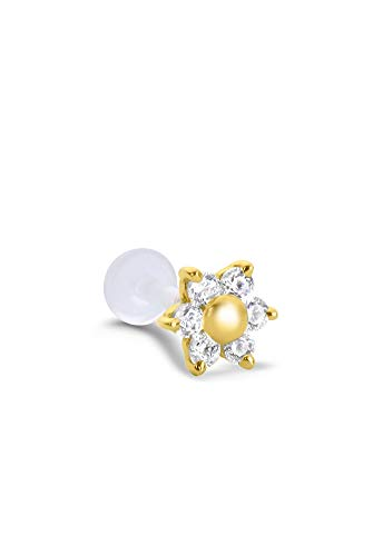 14K Yellow Gold Flower Labret Nose Ring Stud Bioflex Post 3/16
