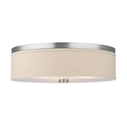 Forecast Lighting F1319-36U Embarcadero Two-Light Energy Efficient Flushmount with Vanilla Fabric Shades and Etched White Glass, Satin Nickel