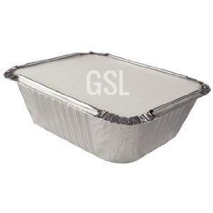 GSL 50 x No1 SMALL ALUMINIUM FOIL TAKEAWAY FOOD CONTAINERS + 50 LIDS GeneralStoresLtd GSLNO1-50FGFC-L