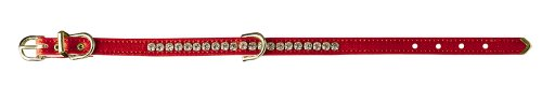 Pet Supply Imports Red Beverly 3/8-Inch Vinyl Collar with 1 Row of Small Rhinestones, Dog Collar, 14-Inch Vinyl Small Dog Collar