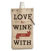 Tote & Able Love The Wine Your With Design Water,Wine and Beverage Canvas Reusable Flask Bottle & Tote Carrier