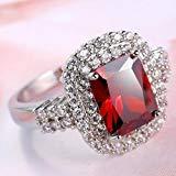 Victoria Jewelry Woman Gorgeous Huge Genuine Fire Red Garnet AAA White Zircon Silver Ring Sz 6-10 (8)