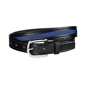 Tory Leather Company Snaffle Bit Belt with Ribbon Accent, 36, Black/Navy with Nickel