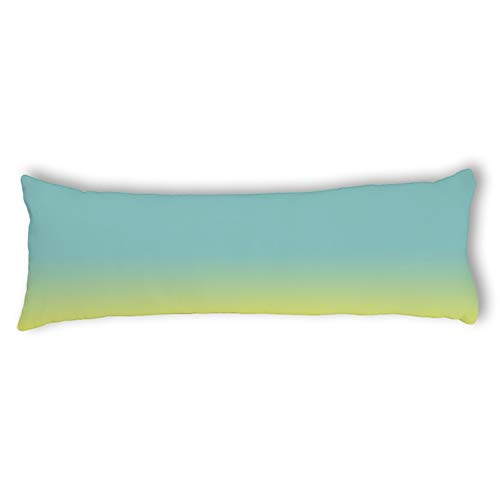 Chartreuse Body - wonbye Pillow Covers Decorative Yellow Green Chartreuse Pattern, Turquoise Soft Cotton Pregnancy Long Body Pillow Cover with Zipper Pillowcase, 20 x 54 in