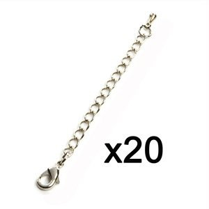 Bluecell Pack of 20 Pcs Silver Color 2.75''(7cm) Inch Chain Extender for Jewelry Necklace Bracelet