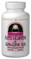 Source Naturals Acetyl L-Carnitine & Alpha-Lipoic Acid 650mg - 120 Tablets