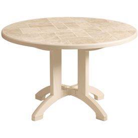 Global Industrial Grosfillex Siena 38 Round Folding Table - Sandstone