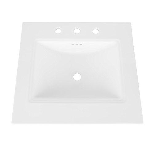 MAYKKE Brighton 25' Ceramic Bathroom Vanity Sink Top with 8' Widespread Faucet Holes in White YSA1072502