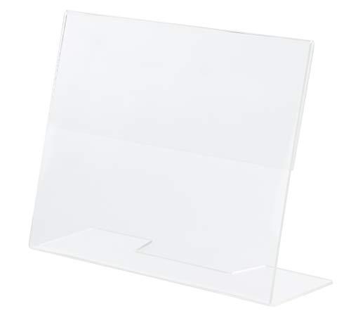 Slanted Sign Holder - 6-Pack 5 x 7 Inches Clear Plastic Desktop Picture Frame, Acrylic Ad Frame, Horizontal Slant Back Menu Holder, for Photos, Brochures, Restaurants, Cafes, Bars, Exhibition Booths ()