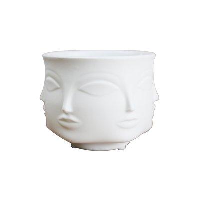 Taka Co White Planter Creative Design Planter Face White Nordic Ceramic Small Decorative Vase Flower Pot Succulents Indoor Plant Holder Home ()