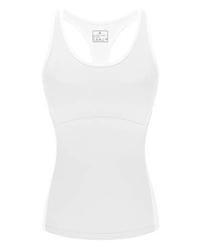 (Women Stretch Tank Tops Built-in Shelf Bra, Lightweight Yoga Camisole Vest for Workout Gym Fitness (White-New, L))