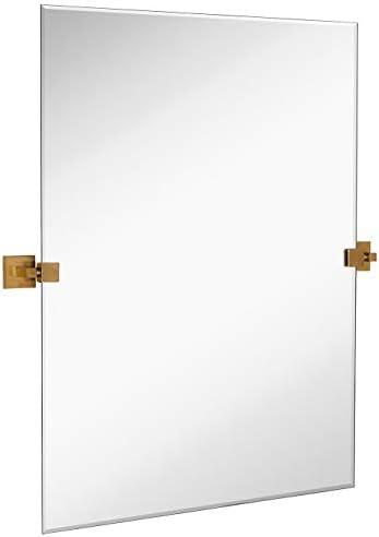 Hamilton Hills 30 x 40 Rectangle Square Gold Pivot Mirror