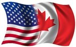 Yellow Dog American - Canadian Wavy Flag Sticker - 1.2