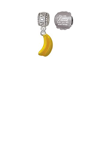 3-D Yellow Enamel Bananas Mom Charm Bead with You Are More Loved Bead (Set of 2)