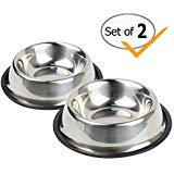 Nuheby Stainless Steel Cat Bowls Pet Food Feeder Dog Water Bowl Rubber Base Small Cats Kitty Dogs, Set of 2 (Small) ()