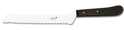 Deglon Offset Bread Knife, Wood Handle, 8-Inch 1 High quality offset bread knife with Deglon halfround teeth; great for tomatoes, bread, and vegetables High performance 8-inch stainless steel blade Durable and attractive wood handle