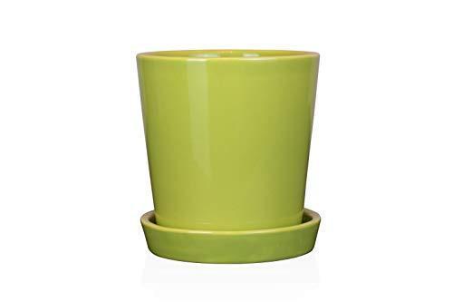 "EcoSeason Cylinder Plant Pot - 4.5"" Ceramic Planters with Drainage Hole&Tray - Home Decor/Garden Decor (1, Green)"