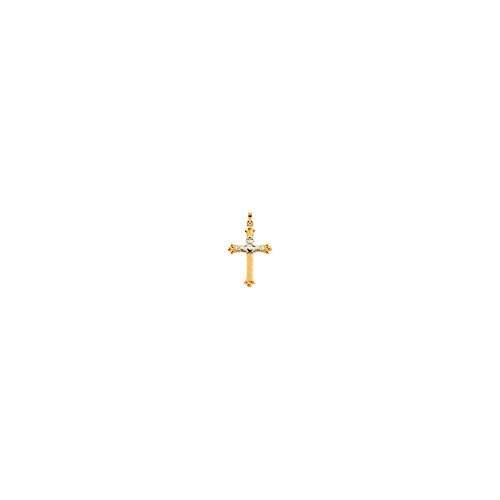 14K Two-tone Gold 32.5x23.5mm Hollow Claddagh Cross Pendant