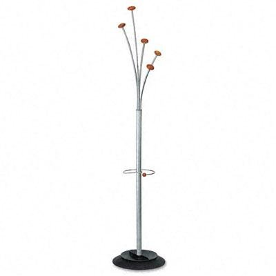 Coat Stand with Umbrella Holder, Five Knobs, Silver Gray Steel/Wood ()