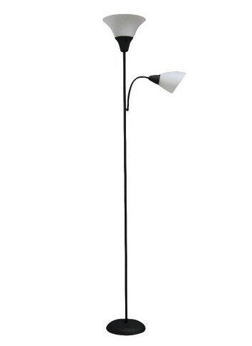 Room essentials torchiere floor lamp with task light black for Task lighting floor lamp