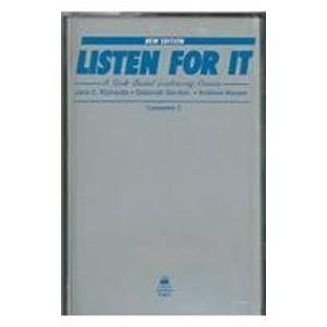 Listen for It: A Task-Based Listening Course Cassettes (3) by Jack C. Richards (1995-05-11)