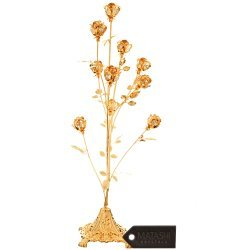 Matashi 24K Gold Plated 10 Piece Rose Bouquet Flower Ornament Studded with Clear Crystals