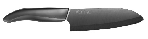 Kyocera Advanced Ceramic Revolution Series 5-1/2-inch Santoku Knife, Black Blade from Kyocera