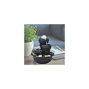 Chillscreamni Small Relaxation Waterfall Feature - 3-Step Little Water Fountain with LED Ball on The Top for Office, Room Decoration, Portable Feng Shui Fountain Indoor and Outdoor