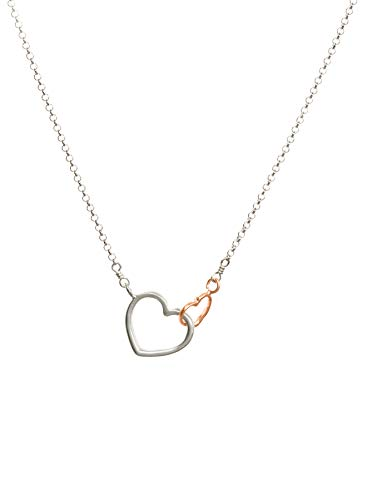 Linked Hearts Necklace - Dogeared Do All Things with Love Sterling Silver and Rose Gold Dip Linked Hearts Necklace