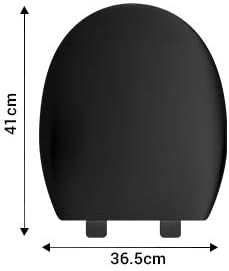 Ultra Negro Suave Cierre Lento Asiento del Inodoro Tranquilo F/ácil Liberaci/ón R/ápida Fijaci/ón Inferior Apretado Bisagras Inodoro Antibacterial Oval