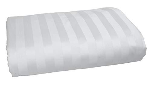 American Pillowcase 100% Long Staple Cotton Luxury Striped 540 Thread Count Flat Sheet - King/California King, White