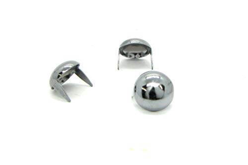 (Chrome Dome Studs - Size 13 - Brass Base Metal Studs - Ideally Used for Denim and Leather Work - Classic Two-Prong Studs - Pack of 25)