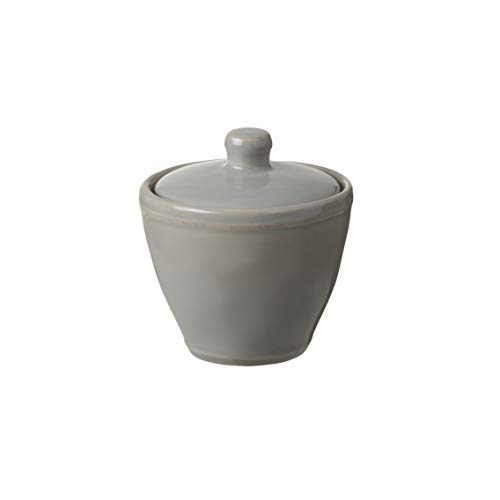 Casafina Stoneware Ceramic Dish Fontana Collection Sugar Bowl, Salt Cellar, Condiment Pot with Lid, 8 oz (Dove Grey)