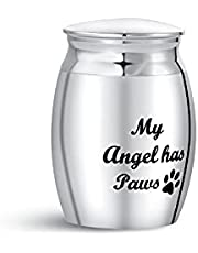 SBI Jewelry Small Urn for Dog Memorial Keepsake Angel Has Paws Stainless Steel Cremation Urns for Ashes