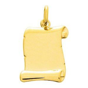 So Chic Bijoux © Pendentif Parchemin Grand Or Jaune 750/000 (18 carats) - Personnalisable : gravure offerte