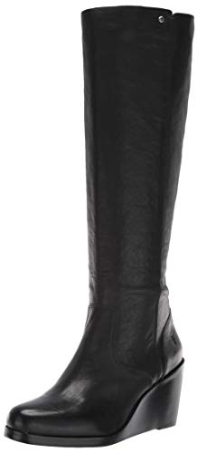 FRYE Women's Emma Wedge Tall Fashion Boot, Black, 9 M US