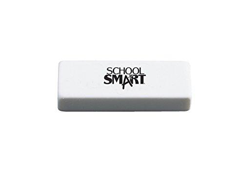 School Smart Latex-Free Non-Abrasive Soft Vinyl Eraser, 2 1/2 X 7/8 X 1/2 in, White, Pack of 20