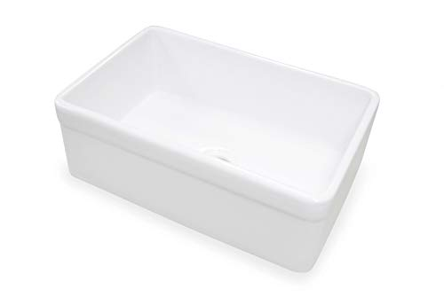 TRUE FIRECLAY Stria Reversible 30'' Apron Front Sink by MOCCOA, Farmhouse Kitchen Sink White … by MOCCOA (Image #1)